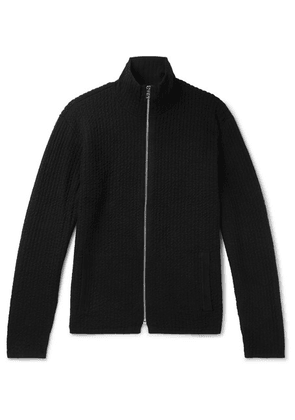 Club Monaco - Slim-fit Mercerised Ribbed-knit Zip-up Cardigan - Black