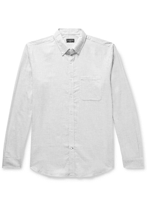 Club Monaco - Slim-fit Button-down Collar Puppytooth Cotton-flannel Shirt - Gray