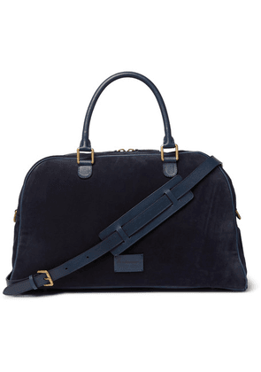 Anderson's - Leather-trimmed Suede Holdall - Navy