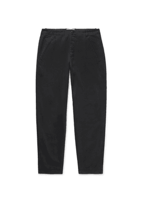 Folk - Black Assembly Tapered Pleated Cotton-canvas Trousers - Black