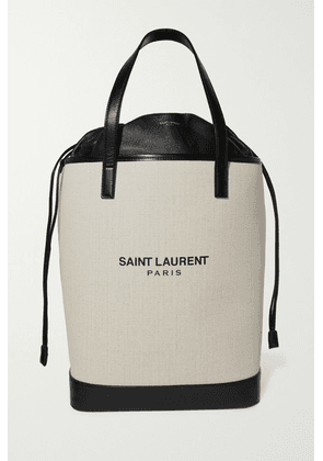 SAINT LAURENT - Teddy Leather-trimmed Printed Canvas Tote - Off-white