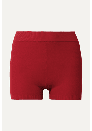 Nagnata - Yoni Technical-knit Stretch-cotton Shorts - Red