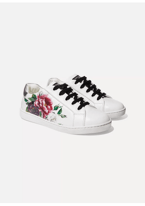 Dolce & Gabbana Kids - Size 29 - 36 Floral-print Leather Sneakers