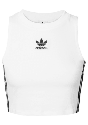 adidas Originals - Cropped Striped Stretch-cotton Jersey Tank - White