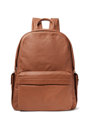 Brunello Cucinelli - Full-grain Leather And Suede Backpack - Brown