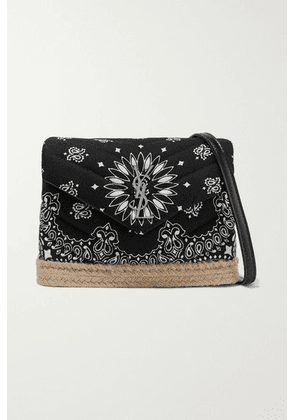 SAINT LAURENT - Loulou Toy Leather And Jute-trimmed Quilted Printed Cotton Shoulder Bag - Black