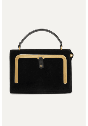 Anya Hindmarch - Postbox Small Velvet And Textured-leather Tote - Black