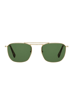 Golden Rhodium Cordovan Sunglasses with Bottle Green Lenses