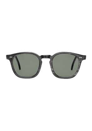 Black Buffalo Horn Twill Sunglasses with Bottle Green Lenses