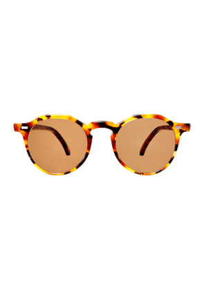 Amber Tortoiseshell Acetate Lapel Sunglasses with Tobacco Brown Lenses