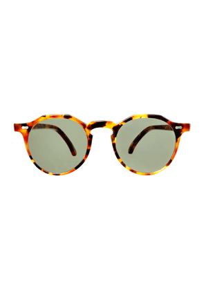 Amber Tortoiseshell Acetate Lapel Sunglasses with Bottle Green Lenses