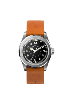 Black Waterproof W.W.W. WMB Edition Serica Watch with Camel Leather Strap and Arrow Hands