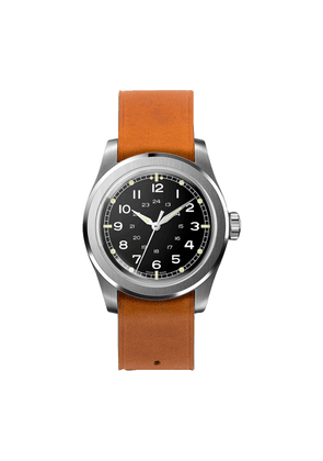 Black Waterproof W.W.W. WMB Edition Serica Watch with Camel Leather Strap and Alpha Hands