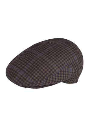 Navy and Brown Plaid Wool Flatcap