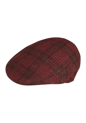 Burgundy and Brown Plaid Wool Flatcap