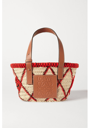 Loewe - Small Embroidered Leather-trimmed Woven Raffia Tote - One size