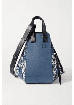 Loewe - Hammock Small Leather And Canvas-jacquard Shoulder Bag - Blue