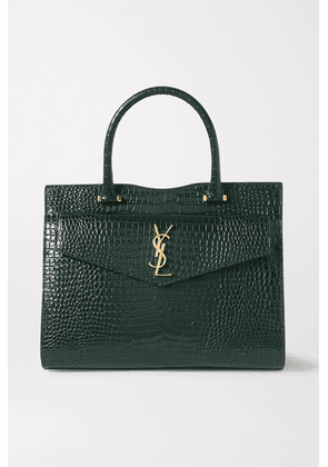 SAINT LAURENT - Uptown Medium Croc-effect Leather Tote - Green
