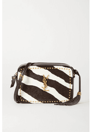 SAINT LAURENT - Lou Studded Zebra-print Calf Hair And Leather Shoulder Bag - Brown