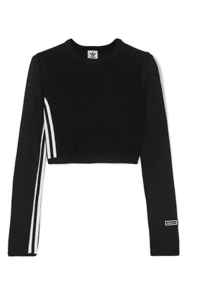 adidas Originals - Cropped Striped Ribbed Stretch-knit Top - Black
