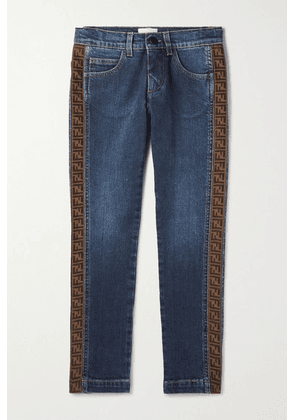Fendi Kids - Ages 8 - 12 Jacquard-trimmed Jeans