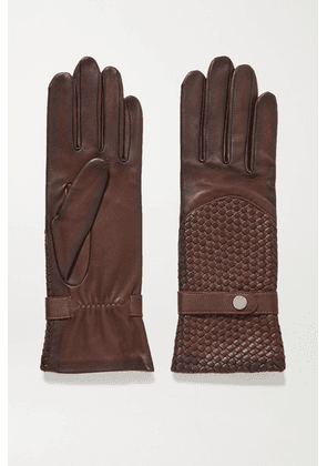 Agnelle - Woven Leather Gloves - Chocolate