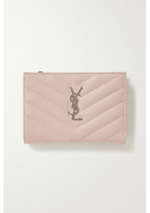 SAINT LAURENT - Monogramme Quilted Textured-leather Wallet - Pastel pink