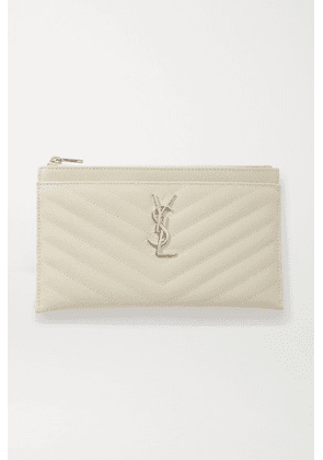 SAINT LAURENT - Monogramme Quilted Textured-leather Pouch - Off-white