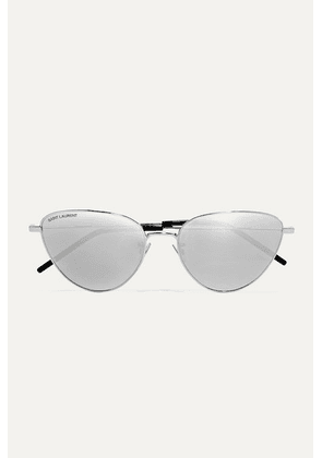 SAINT LAURENT - Jerry Cat-eye Silver-tone Mirrored Sunglasses - one size