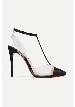 Christian Louboutin - Nosy 100 Crystal-embellished Satin And Pvc Pumps - Black