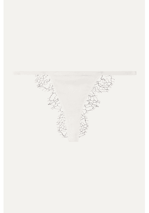 Dion Lee - Stretch-silk Satin And Lace Thong - Ivory