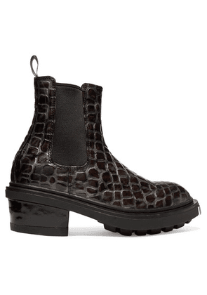 Eytys - Nikita Croc-effect Leather Ankle Boots - Dark gray