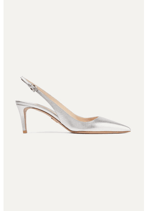 Prada - 65 Metallic Textured-leather Slingback Pumps - Silver