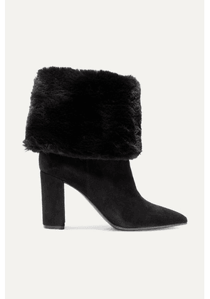 Gianvito Rossi - 85 Suede And Faux Fur Ankle Boots - Black