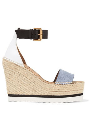 See By Chloé - Denim And Leather Espadrille Wedge Sandals - Light denim