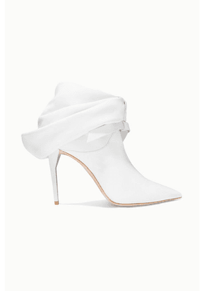 Miu Miu - Bow-embellished Leather Ankle Boots - White