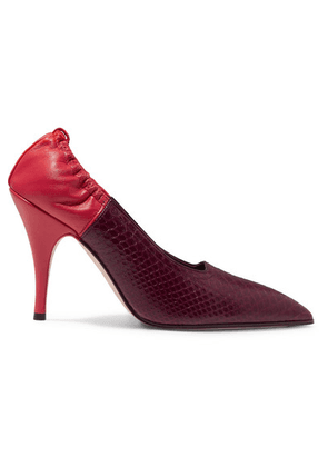 Victoria Beckham - Two-tone Watersnake And Leather Pumps - Burgundy