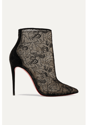 Christian Louboutin - Psybootie 100 Suede-trimmed Embroidered Mesh Ankle Boots - Black