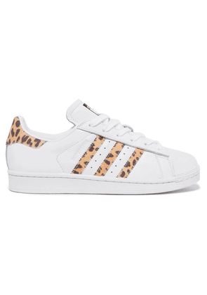adidas Originals - Superstar Leopard Print-trimmed Leather Sneakers - White