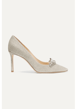 Jimmy Choo - Romy 85 Crystal-embellished Glittered Leather Pumps - Silver