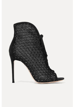Gianvito Rossi - 105 Embellished Suede-trimmed Mesh Ankle Boots - Black