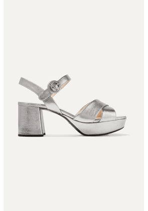 Prada - Metallic Textured-leather Platform Sandals - Silver