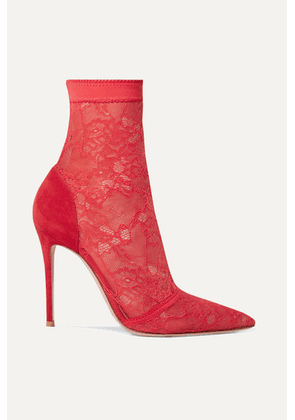 Gianvito Rossi - 105 Stretch-lace And Suede Sock Boots - Red
