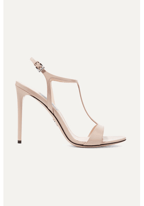 Prada - 105 Glossed-leather Sandals - Beige