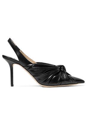 Jimmy Choo - Annabell 85 Knotted Leather Slingback Pumps - Black