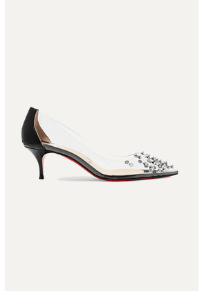 Christian Louboutin - Collaclou 55 Spiked Pvc And Patent-leather Pumps - Black