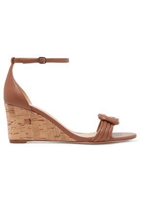 Alexandre Birman - Vicky Knotted Leather Wedge Sandals - Tan