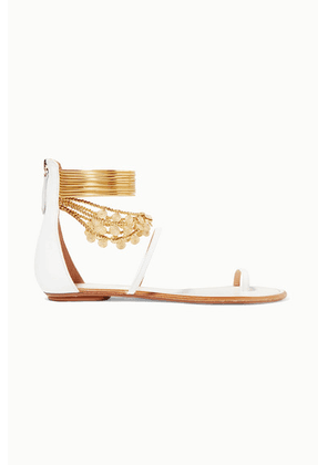 Aquazzura - Queen Of The Desert Embellished Leather Sandals - White