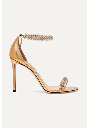 Jimmy Choo - Shilo 100 Crystal-embellished Metallic Leather Sandals - Gold