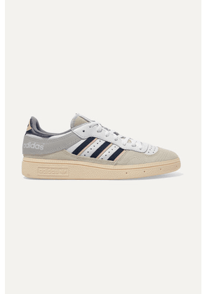 adidas Originals - Handball Top Grosgrain-trimmed Suede And Leather Sneakers - Gray
